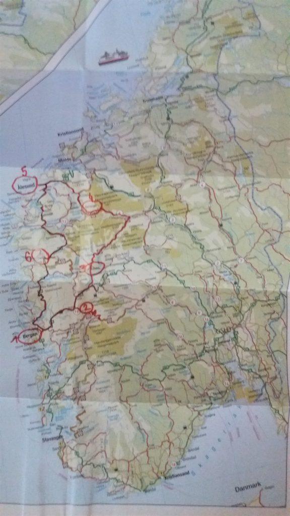 Mapa Nórska, fjordy